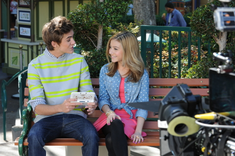 In this photo provided by Nintendo of America, actor G Hannelius, currently starring in the Disney Channel sitcom Dog With A Blog, films a promo for the new Disney Magical World game with actor Cole Pendery at the Downtown Disney® District last month. Disney Magical World launches exclusively for the Nintendo 3DS family of systems on April 11. Cole is holding the new Mickey Edition Nintendo 3DS XL system that will be available at Wal-Mart. (Photo: Business Wire)