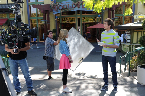In this photo provided by Nintendo of America, actor G Hannelius, currently starring in the Disney Channel sitcom Dog With A Blog, films a promo for the new Disney Magical World game with actor Cole Pendery at the Downtown Disney® District last month. Launching exclusively for the Nintendo 3DS family of systems on April 11, Disney Magical World allows players to interact with more than 60 Disney characters and visit exciting Disney-themed worlds. (Photo: Business Wire)