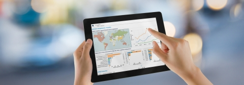 Elevate's Country Performance dashboard, seen on an iPad (Photo: Business Wire)
