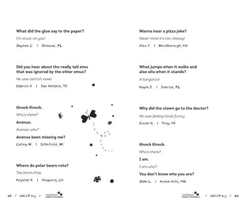 """Little Book - Big Laughs Joke Book"": sample (Graphic: UnitedHealthcare Children's Foundation)"