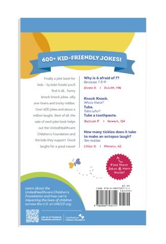 """Little Book - Big Laughs Joke Book"": back cover (Graphic: UnitedHealthcare Children's Foundation)"