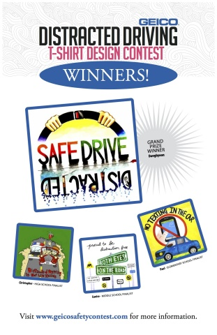 Winners of GEICO's distracted driving t-shirt design contest. (Graphic: Business Wire)
