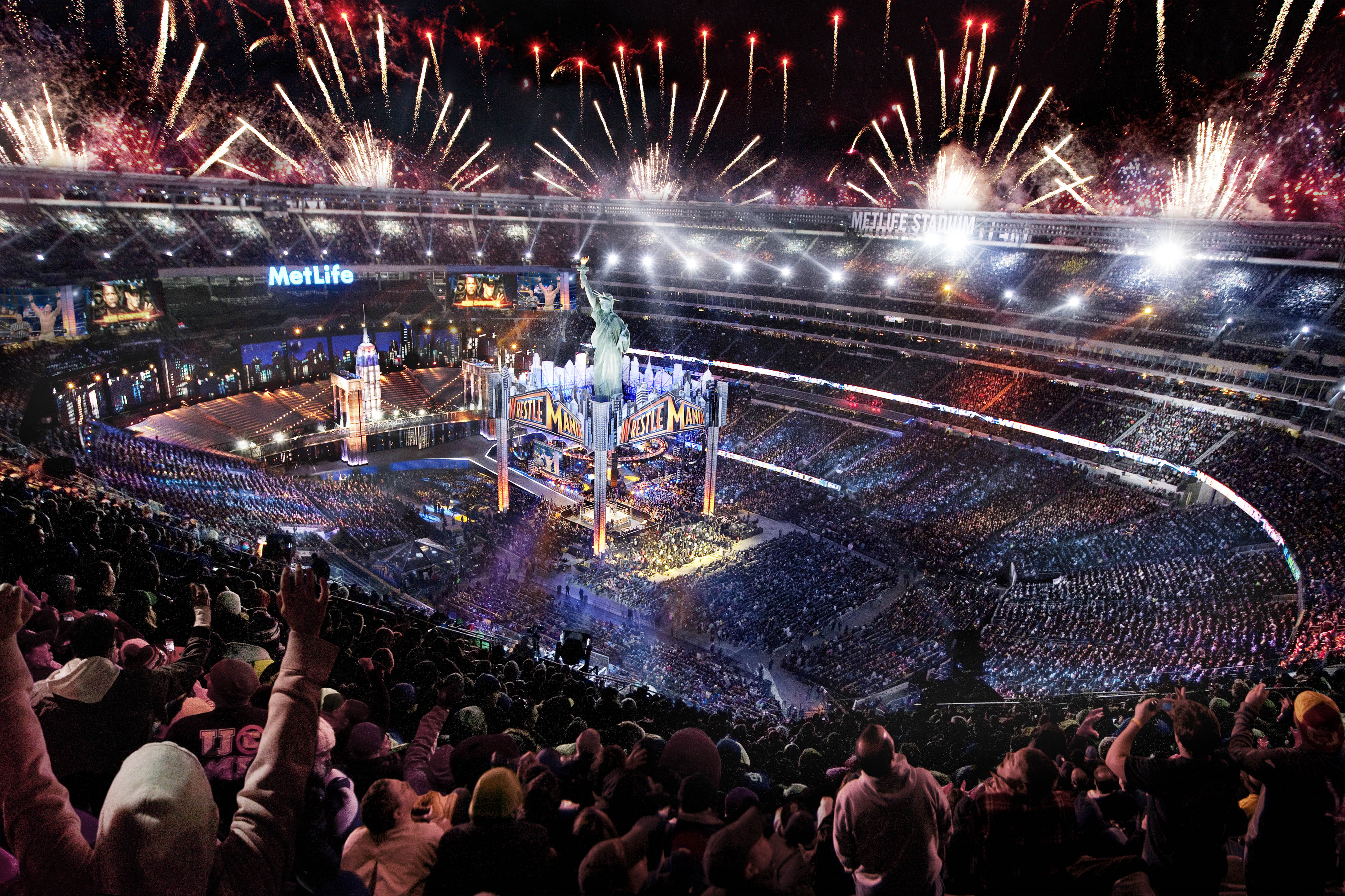 80,676 fans from all 50 states and 34 countries converged on MetLife Stadium for WrestleMania 29 on Sunday, April 7, 2013 (Photo: Business Wire)