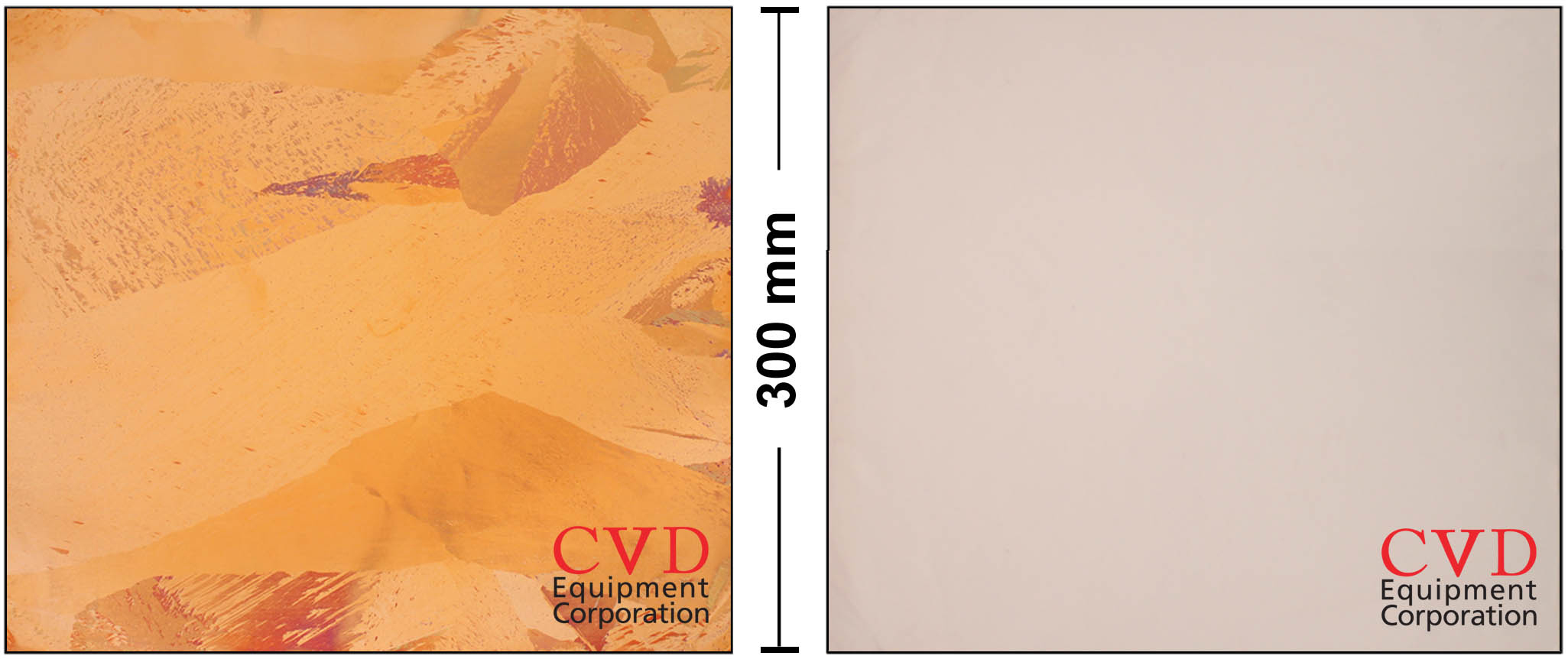 The left image above shows a 300 mm annealed Cu foil (without graphene growth). This foil was intentionally removed from our EasyGraphene™ system at 200º Celsius so that the Cu grains would oxidize at different rates, thereby becoming easily observed with the naked eye. The right image above shows a 300 mm Cu foil with >95% mono layer graphene growth on top of the large Cu grains manufactured in our EasyGraphene™ system. The graphene protects the Cu foil from being oxidized, as can be seen by the uniform pinkish color. (Photo: Business Wire)