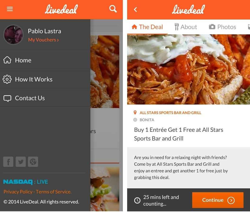 LiveDeal Android App allows consumers access to thousands of restaurant deals on the LiveDeal.com network. (Graphic: Business Wire)