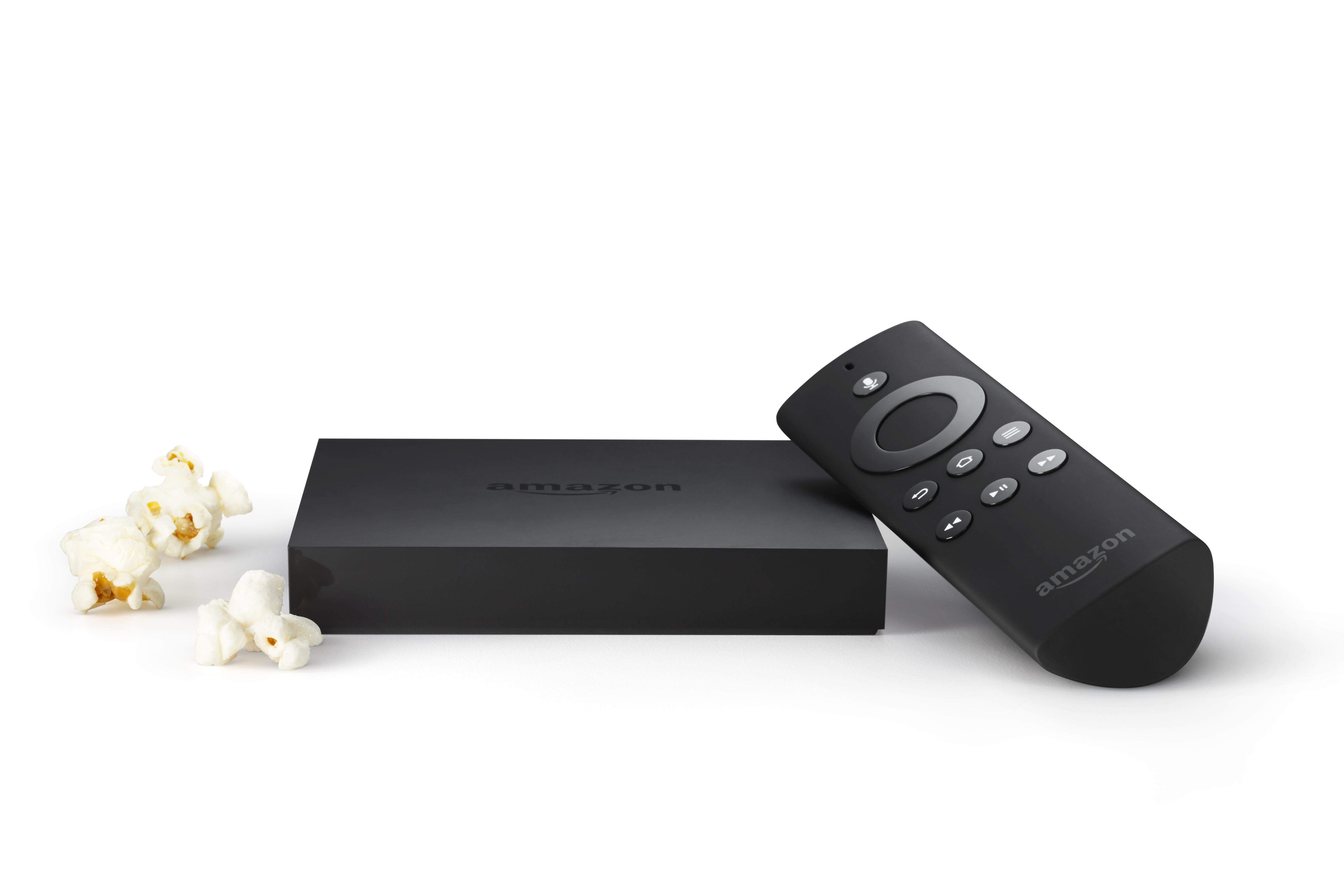 Amazon Fire TV is a tiny box that plugs into your HDTV for easy and instant access to Netflix, Prime Instant Video, Hulu Plus, WatchESPN, SHOWTIME, low-cost video rentals, and much more. (Photo: Business Wire)