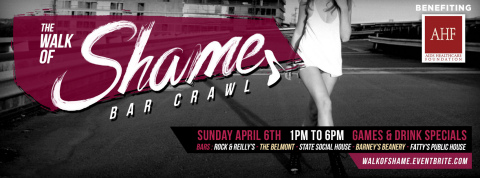 West Hollywood Walk of Shame bar crawl and scavenger hunt on Sunday, April 6 benefits AIDS Healthcare Foundation (Graphic: Business Wire)