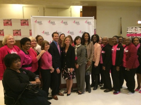 Komen President and CEO Dr. Judith Salerno joined Congressman Aaron Schock, Congresswoman Debbie Wasserman Schultz, breast cancer advocate Malaak Compton-Rock and local D.C. area grantees The DC Pink Divas to kick off the upcoming Susan G. Komen Global Race for the Cure on May 10. (Photo: Business Wire)