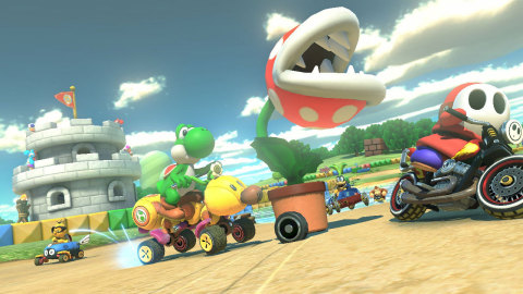 In Mario Kart 8, the Piranha Plant attaches to the front of the player's kart and chomps at other characters, banana peels on the track or even shells thrown by other characters. (Graphic: Business Wire)