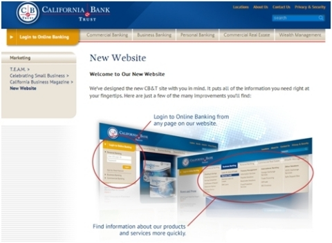California Bank & Trust's new website (Photo: Business Wire)