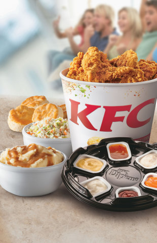 The KFC favorite Dip'ems® Bucket contains 20 Extra Crispy™ Tenders accompanied by six sauces. KFC Dip'ems Tenders are all-breast meat, freshly-prepared and hand-breaded- and with signature sauces like Honey BBQ, Creamy Ranch, Creamy Buffalo and Honey Mustard, along with the return of Orange Ginger and Bacon Ranch sauces for a limited time. (Photo: Business Wire)