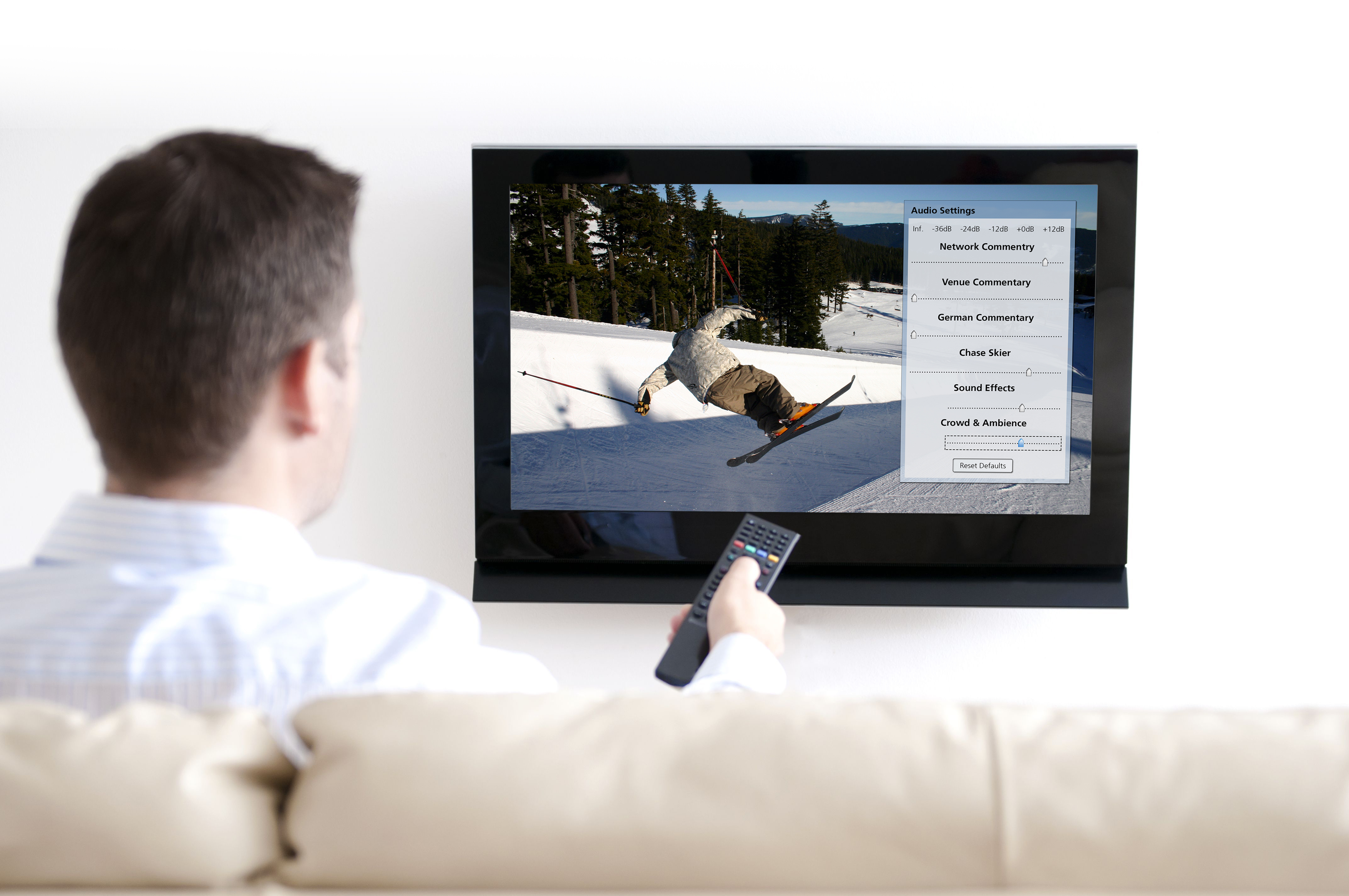 Fraunhofer's 3D TV Audio System allows viewers to personalize sound broadcasts to suit their personal preferences. With a click of the remote, they can create their favorite mix of sports broadcasts. (Copyright: Getty Images/Fraunhofer USA)
