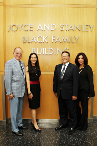 The Black Family – Stanley Black (left), Janis Black Warner, Jack Black and Jill Black Zalben – visit Children's Hospital Los Angeles to celebrate the unveiling of the Joyce and Stanley Black Family Building. (Photo: Business Wire)