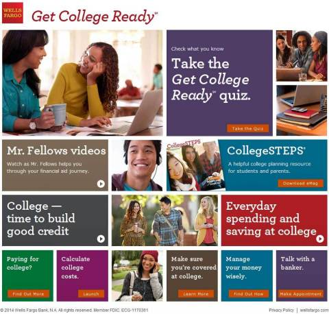 Wells Fargo launches the Get College Ready website, a new, interactive online platform that offers a quiz, a calculator, videos and educational articles to help parents and students prepare financially for college. (Graphic: Business Wire)