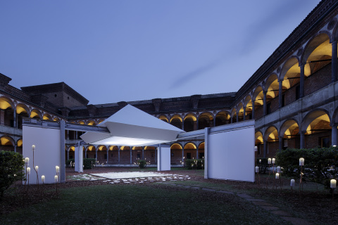 Image of the Installation (night)(Photo by Satoshi Shigeta)