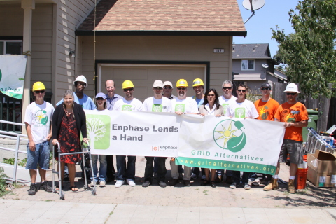 Over the last four years, GRID Alternatives and Enphase have powered over 1,000 low-income homes across the U.S., generating over $25 million in long-term savings to help these families pay for basic expenses. The expanded 2014 partnership will serve an additional 350-400 families over the next 12 months, providing $10 million more in savings, while providing thousands of individuals with hands-on job training in the growing solar industry. (Photo: Business Wire)