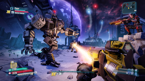 This image showcases the new ways to experience the award-winning Borderlands shoot 'n' loot gameplay and shows off two of the four new playable characters and one of the new weapon classes, lasers. Players are on the moon for the first time and can see Pandora in the background while enemies are engaging in low-gravity gunfights using oxygen to boost them up in the air. (Photo: Business Wire)