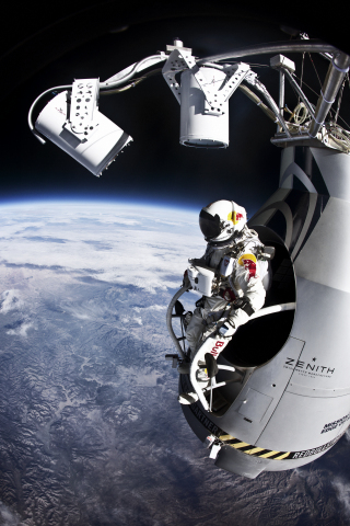 "Red Bull daredevil Felix Baumgartner prepares for his record-breaking 128,000-foot free fall from the stratosphere on Outside Television's ""Mission to the Edge of Space.""  (Photo: Jay Nemeth/Red Bull Content Pool)"