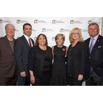 Pat Williams, Walter M. Capone, Connie L. Lindsey, Kathy Giusti, Bonnie Hunt and Mike Ditka celebrate at the 2014 MMRF Chicago Awards Dinner