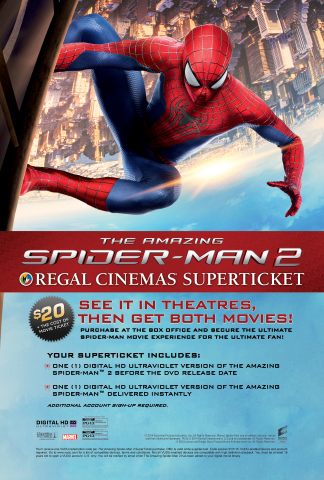 Regal offers U.S. moviegoers the exclusive Super Ticket with admission to the new movie, along with Digital HD copies of ''The Amazing Spider-Man'' and ''The Amazing Spider-Man 2.'' Image Source: Regal Entertainment Group