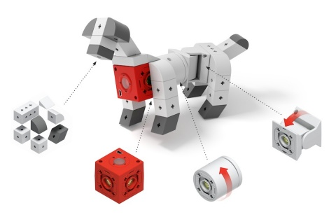 TinkerBots is a robot building set that enables children as young as five--and adults, too--to easily build whatever kind of robot they can imagine, like this dog. All it takes is snapping together the TinkerBots red Power Brain module and other pieces to create a robot. No wiring or programming. Just a lot of fun and learning. (Photo: Business Wire)