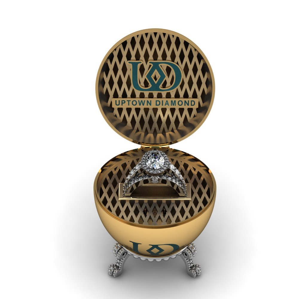 A custom-designed 2.56 total carat weight diamond ring valued at $30,000 is the prize in Uptown Diamond's World's Most Expensive Easter Egg Hunt. Participants can enter the contest starting today on the Uptown Diamond Facebook page. (Photo: Business Wire)