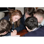 Mulroy College students (left to right): Shane Flood, Aine Green, Caolan Mc Laughlin, Shane Kerr and Connor Dougan, participate in a table quiz at Pramerica Systems Ireland. (Photo: Bus