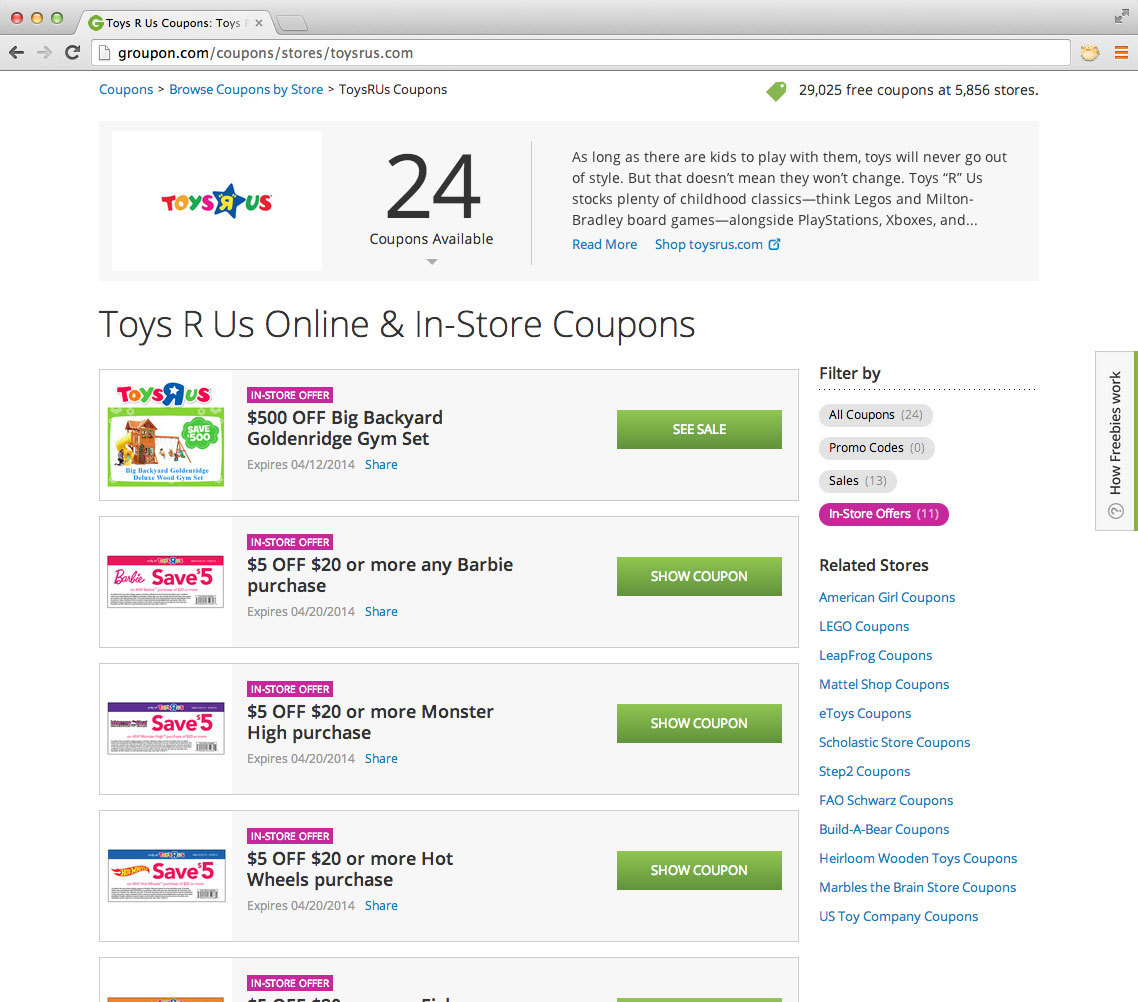 Groupon (www.groupon.com) announced the addition of in-store coupons to its growing Freebies category (www.groupon.com/freebies), providing national retailers with a programmatic way to reach millions of potential customers with targeted promotions that drive traffic into their business.