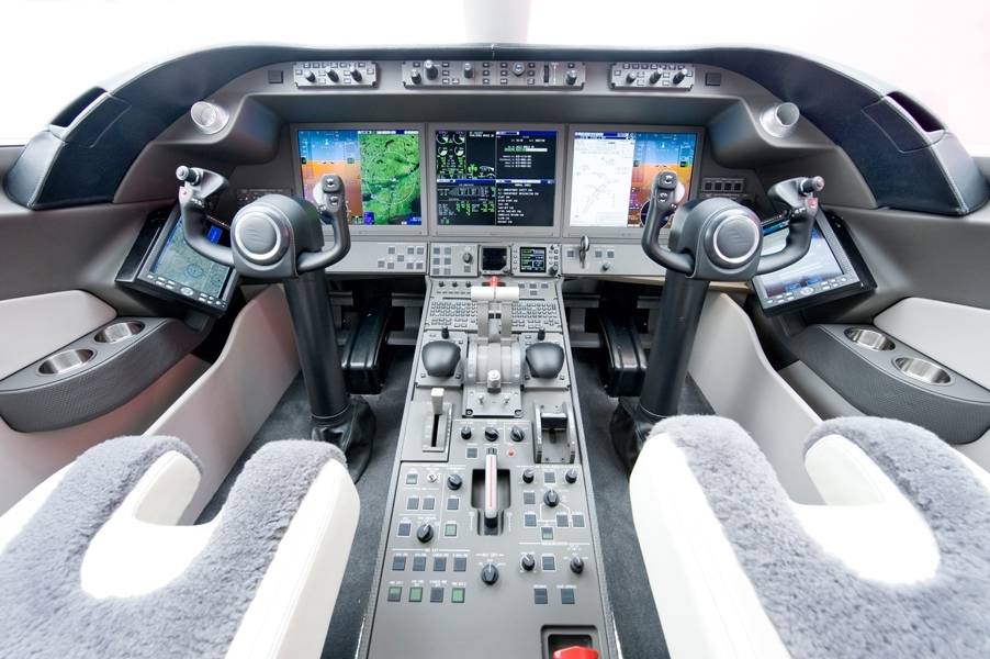 Rockwell Collins' Pro Line Fusion(R) for the Bombardier Learjet 85 features the industry's largest LCD displays in a three-display configuration with a number of features to significantly enhance situational awareness. (Photo: Bombardier)