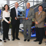 For the second consecutive year, Mouser Electronics has received the NorthFace ScoreBoard Award for World-Class Customer Service Excellence. Pictured left to right from Mouser are Coby Kleinjan, Stephanie Sorrell, President and CEO Glenn Smith, Steve Newland, Mark Burr-Lonnon and Sonya Weger. (Photo: Business Wire)