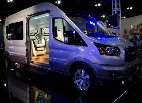 The Ford Transit Skyliner Concept - a private jet for the road, showcasing the capability and flexib ...