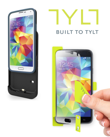 Two common frustrations among smartphone users are installing screen protectors and keeping devices charged. New Galaxy S5 owners can avoid these frustrations with the easy installation of TYLT's ALIN and the charging convenience of the ENERGI Sliding Power Case.  (Photo: Business Wire)