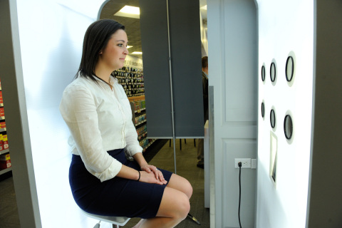 Staples' new 3D experience store in New York City features a photo booth that lets customers scan their likeness to create a personalized figurine. (Photo: Business Wire)