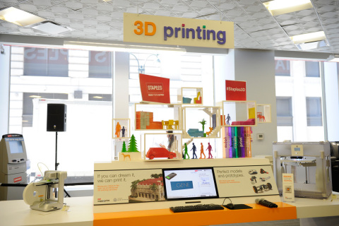 Staples is testing 3D printing as a service with two stores in New York City and Los Angeles, each featuring an immersive 3D printing experience center that lets consumers and small businesses create personalized products and use 3D hardware. (Photo: Business Wire)