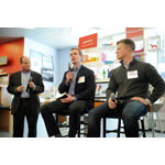 Staples announces new 3D printing services at a small business panel on Thursday, April 10, 2014 in New York. Small Business Owner, Columnist and Author Gene Marks, left, Senior Vice President, Business Services for Staples Damien Leigh, center, and Director of Product Management for 3D Systems Ash Martin. (Photo: Business Wire)