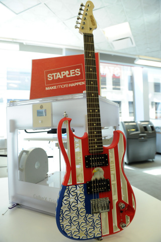 Customers visiting Staples' new 3D printing experience center stores in New York City and Los Angeles can see 3D printed products, including this working guitar. (Photo: Business Wire)