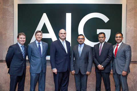 AIG and Bank Muscat executives at AIG headquarters (from left to right): Phil Ashkuri (AIG), Daniel Doherty (AIG), Peter Hancock (CEO, AIG PC), Amjad Al Lawati (Bank Muscat, Head of Products and Services), Sreenath Manghat (Bank Muscat, Head Bancassurance) and Neel Bhardwaj (AIG). (Photo: Business Wire)