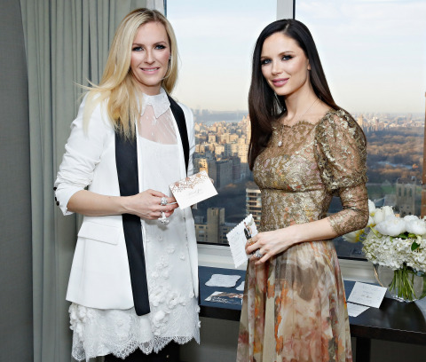 Keren Craig and Georgina Chapman, co-founders of Marchesa, showcasing the new Marchesa for Wedding Paper Divas stationery (Photo: Getty)