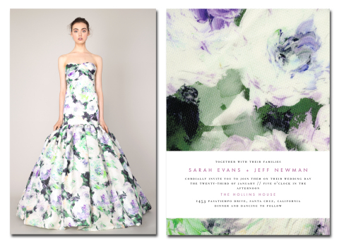 Breathtaking Blossoms by Marchesa for Wedding Paper Divas alongside the dress that inspired the design (Photo: Business Wire)