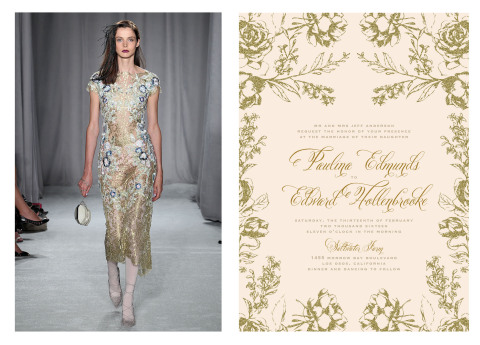 Artful Floral by Marchesa for Wedding Paper Divas alongside the dress that inspired the design (Photo: Business Wire)
