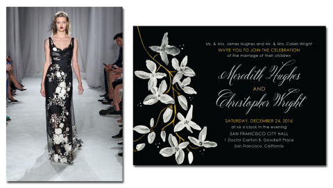 Night Blooms by Marchesa for Wedding Paper Divas alongside the dress that inspired the design (Photo: Business Wire)