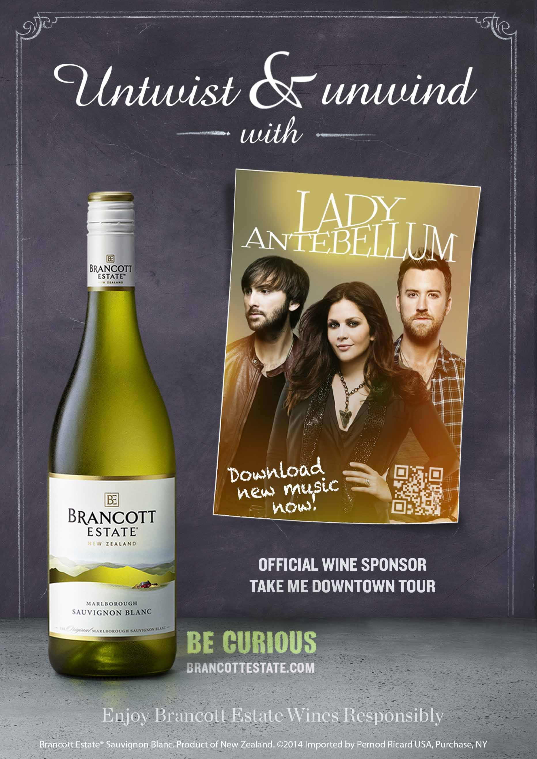 Brancott Estate(TM) is bringing an exciting music based program to consumers by creating a marketing partnering with seven time Grammy Award winning band Lady Antebellum. (Photo: Business Wire)