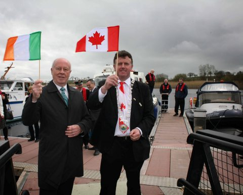 Canadian Ambassador to Ireland, Loyola Hearn, with Sean McDermott, Chairman of Leitrim County Council announcing a tourism initiative which will see the waterways of Leitrim and Peterborough promoted in a bid to boost visitors to both countries during 2014. (Photo: Business Wire)
