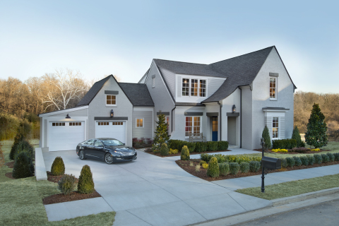 The exterior design of the HGTV Smart Home 2014 is inspired by homes along the English countryside. Photo (c) 2014 Scripps Networks, LLC.