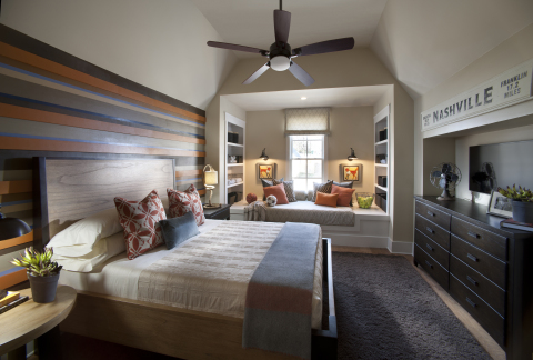 Warmer hues and rustic textures envelope this teen bedroom, making the space feel youthful and inviting. Photo (c) 2014 Scripps Networks, LLC.