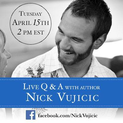 Life Without Limbs founder Nick Vujicic has just reached a milestone on his Facebook page, passing three million 'likes.' Nick will be 'hanging out' on his Facebook page today starting at 2 PM Eastern time, taking questions for a live Q&A. (Graphic: Business Wire)