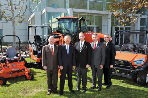 Kubota's executive management team places a high priority on the dealer-manufacturer relationship. From left to right: Greg Embury, KTC senior vice president, marketing and dealer development; Masato Yoshikawa, KTC president and CEO; David Sutton, KCC president and CEO; Todd Stucke, KTC vice president, agriculture and turf division; Ted Pederson, KTC vice president, northern division and special projects. (Photo: Business Wire)