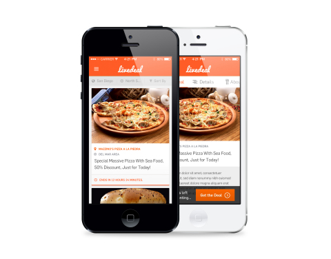 LiveDeal.com iOS App allows consumers access to thousands of restaurant deals on the LiveDeal.com network on Apple mobile devices. (Photo: Business Wire)