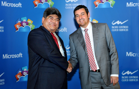 (From left) Dilip Rahulan, Executive Chairman, Pacific Controls with Bruno Delamarre, Microsoft Gulf ...