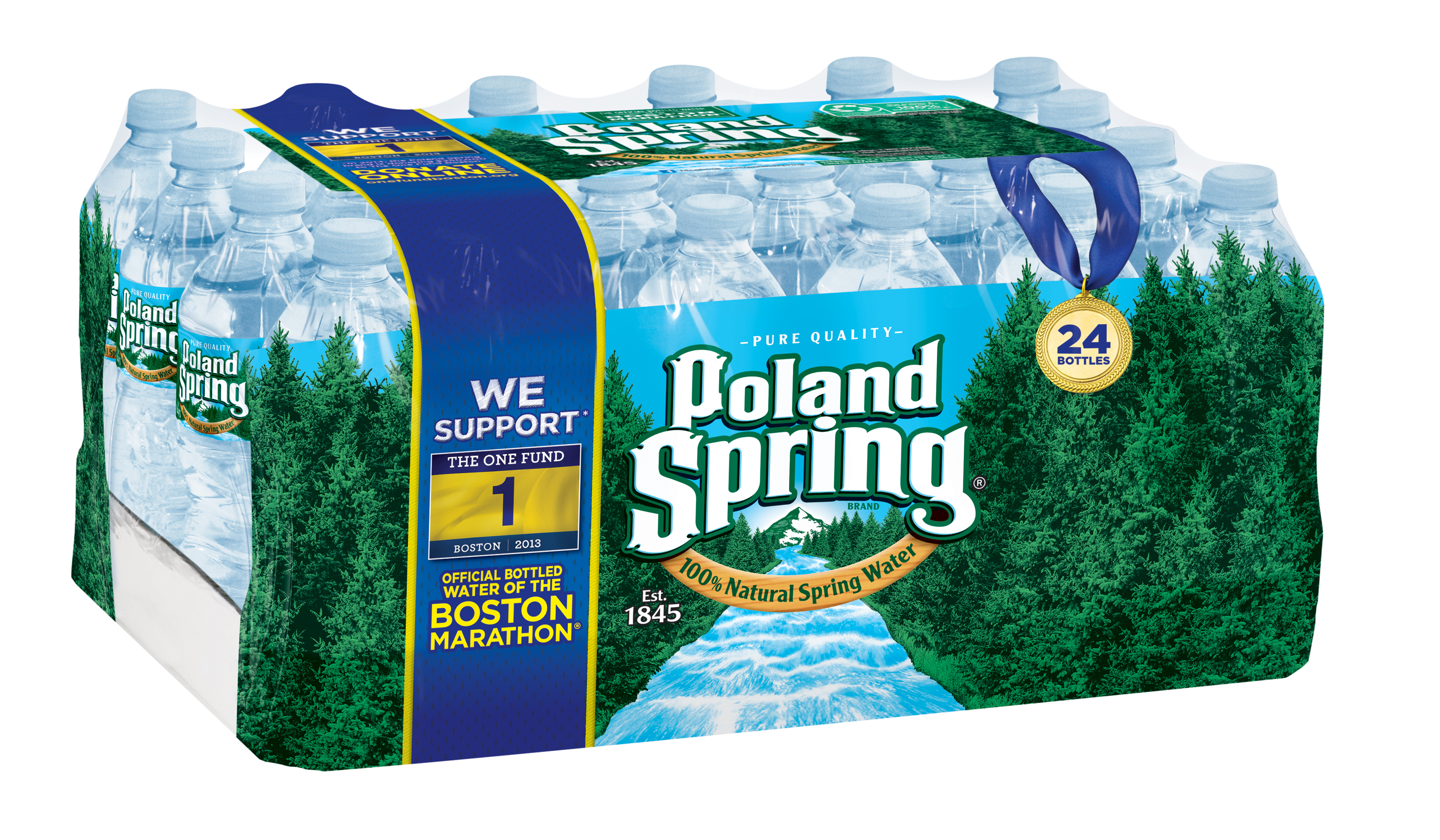 Poland Spring® 100% Natural Spring Water announced it will donate $250,000 to One Fund Boston in continued support to help meet the significant ongoing needs of the survivor community. Limited-edition bottles, available throughout New England, will feature the One Fund Boston logo and packaging will encourage consumers to join Poland Spring in supporting the organization by making donations of their own. (Photo: Business Wire)